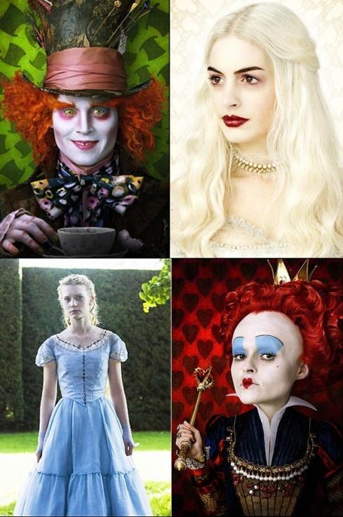 Chapeleiro Louco, Rainha Branca, Alice e Rainha de Copas